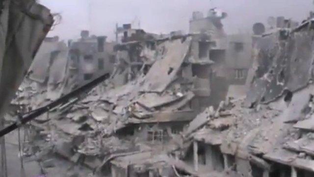 Ce qui reste après les bombardements intensifs des quartiers de Homs (Octobre 2012)