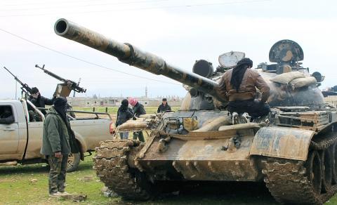 Char T-62 de l'ASL à al Qusayr