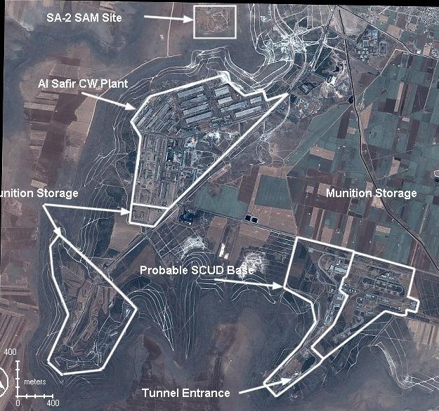 Image satellite du complexe militaire d'al Safira(site SAM, unités de production, entrepôts de stockage de munitions/missiles)