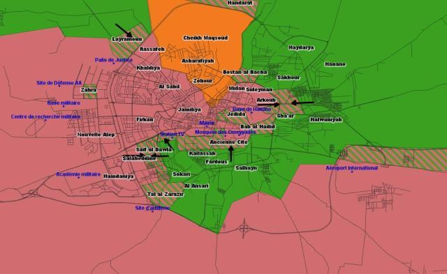 Situation d'Alep en Novembre 2012 (en vert : contrôle de l'ASL, en orange : contrôle les YPG)