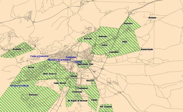 Zones de combats (en vert) à Damas pendant l'opération « Volcan de Damas » (Juillet 2012)