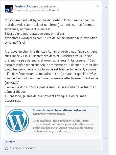 copie d'écran du commentaire de Frédéric Pichon sur sa page.