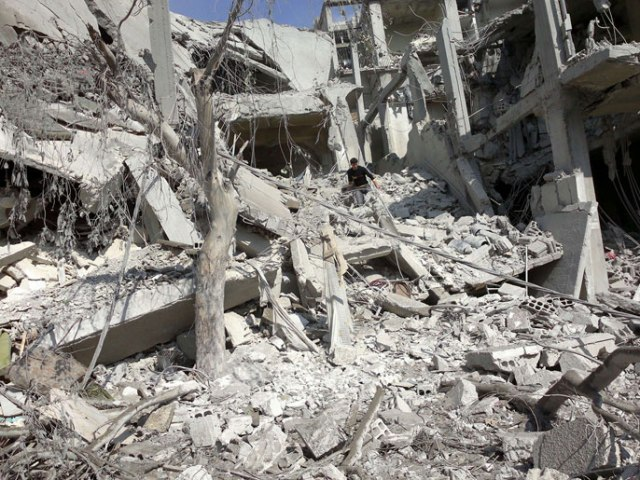 Dégâts considérables à Arbin suite aux bombardements du régime (Novembre 2012)