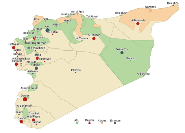 Progression de l'ASL et des Kurdes sur territoire Syrien (Novembre 2012)
