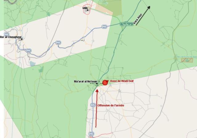 Base de Wadi Dayf encerclée à Ma'arat al No'man (présence de l'ASL en vert)
